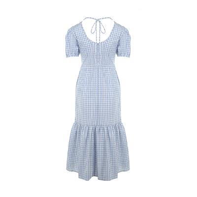 gingham check puff sleeve dress
